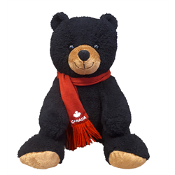 "10"" Softy Critter Sitting Black Bear with red Canada scarf"
