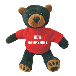 Zipper Pull - Black Bear - NEW HAMPSHIRE Solid Red
