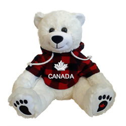 "10"" Smiley Sitting Polar Bear Red Jack CANADA"