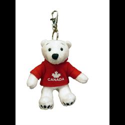 Zipper Pull -  Polar Bear - CANADA Solid Red
