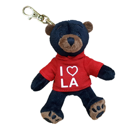 Zipper Pull - Black Bear - I (HEART) LA - Solid Red