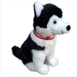 "8"" Sitting Black Husky with red Canada ribbon"