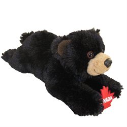 "9"" Floppy Black Bear Holding Maple Leaf"