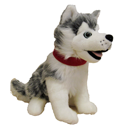 "12"" Sitting Grey Husky with Red Ribbon"