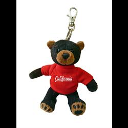 Zipper Pull - Black Bear - CALIFORNIA - Solid Red