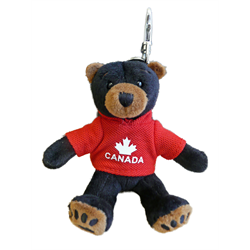 Zipper Pull - Black Bear - CANADA - Solid Red