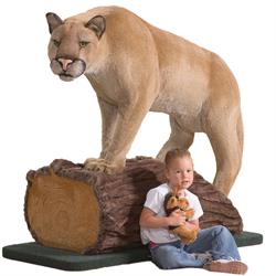 """Display - 60"""" Cougar (Mountain Lion) on Log"""