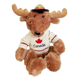 "15"" Happy Moose w/ Hat & Sweater CANADA"