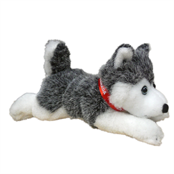 "9"" Floppy Grey Husky w/ red Canada ribbon"