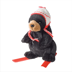 Zipper Pull - Skier Black Bear RED
