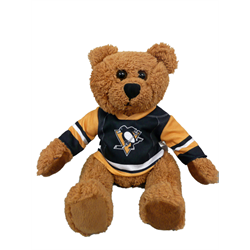 "10"" Curly Critter Brown Bear - Pittsburgh Penguins"