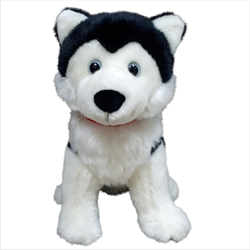 "12"" Sitting Black Husky with red Canada ribbon"
