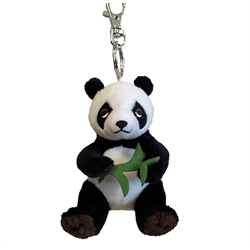 Zipper Pull- Natural Panda Bear with Bamboo