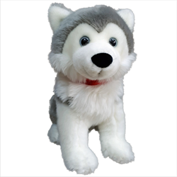 "12"" Sitting Grey Husky with red Canada ribbon"