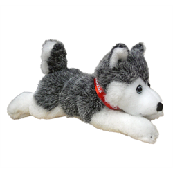 "12"" Floppy Grey Husky w/ red Canada ribbon"