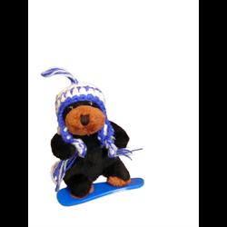 Zipper Pull- Boarder Black Bear BLUE