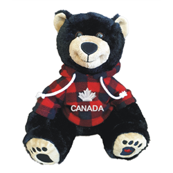 "10"" Smiley Sitting Black Bear Red Jack Hoody CANADA"
