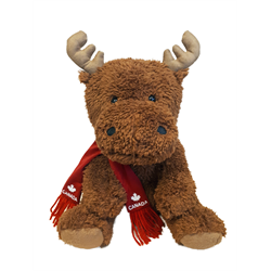 "10"" Softy Critter Sitting Moose with red Canada scarf"