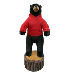 6' Character Black Bear on Stump