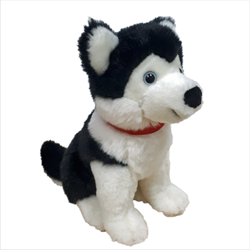 "8"" Sitting Black Husky with red ribbon"