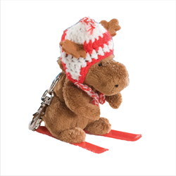 Zipper Pull - Skier Moose RED